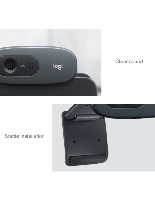 Webcam Logitech HD C270 con Micrófono, 1280 x 720 Pixeles, USB 2.0, Negro