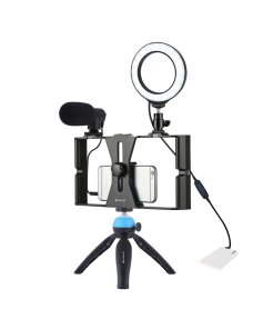 Aro de Luz de 12cm con microfono, base y tripode para smartphone